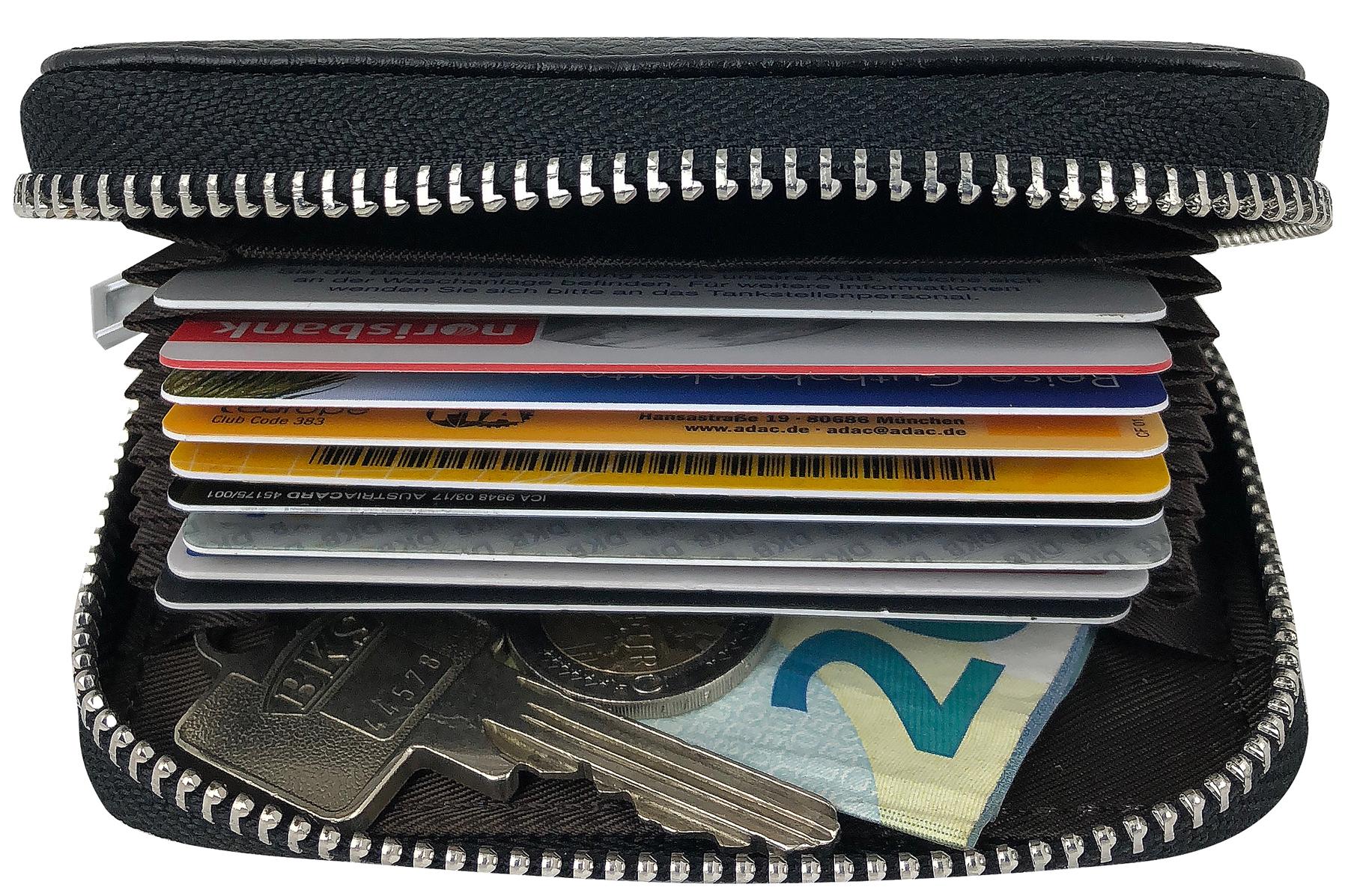 ae67633e1b6de Premium Kredit-Karten-Etui Geldbörse Echt-Leder mit Edel Stahl ...