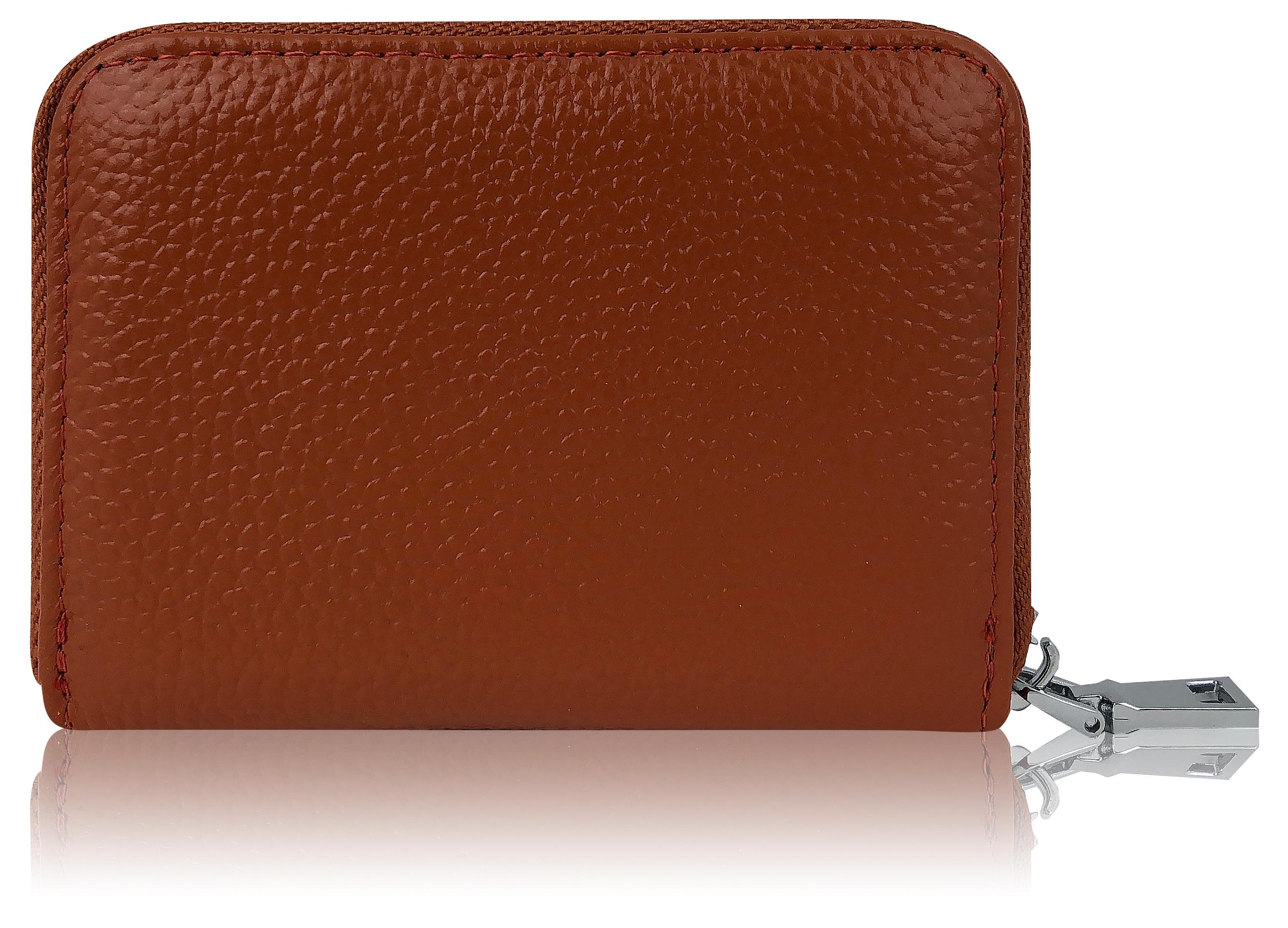 Premium Kredit Karten Etui Geldbörse Echt Leder Mit Edel Stahl Reißverschluß Zipper 12 Fächer Rfid Schutz Klein Mini Slim Smart Karten Hülle
