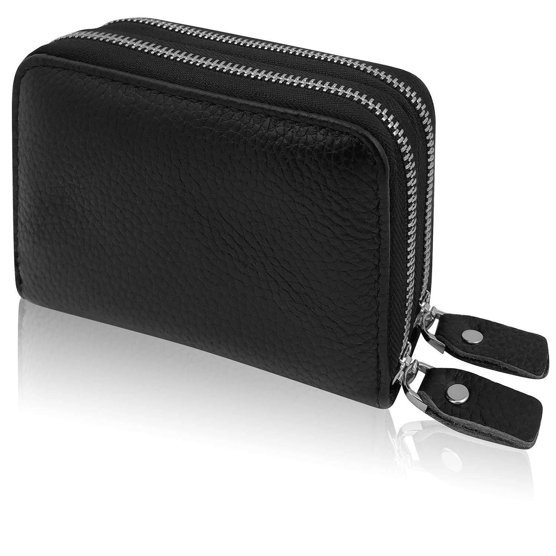 Premium Kredit Karten Etui Geldbörse Echt Leder Mit Zwei Doppel Edel Stahl Reißverschluß Zipper 12 Fächer Rfid Schutz Mini Klein Karten Hülle